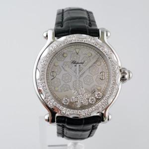 Швейцарские часы Chopard Happy Sport Diamond Snowflake 18K White Gold Steel