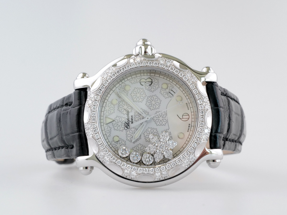 Швейцарские часы Chopard Happy Sport Diamond Snowflake 18K White Gold Steel