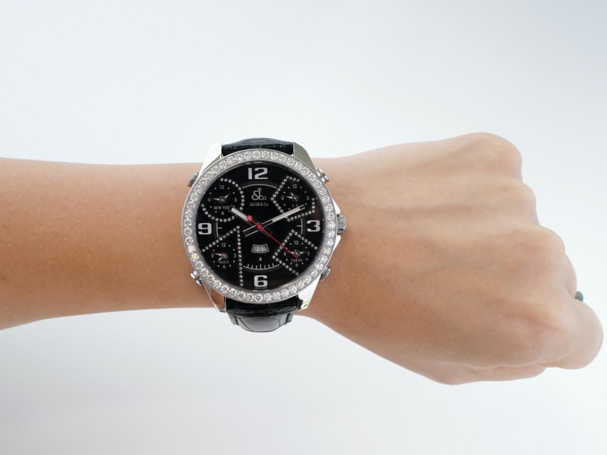 Швейцарские часы Jacob & Co. Five Time Zone 3.75 Ct Diamonds