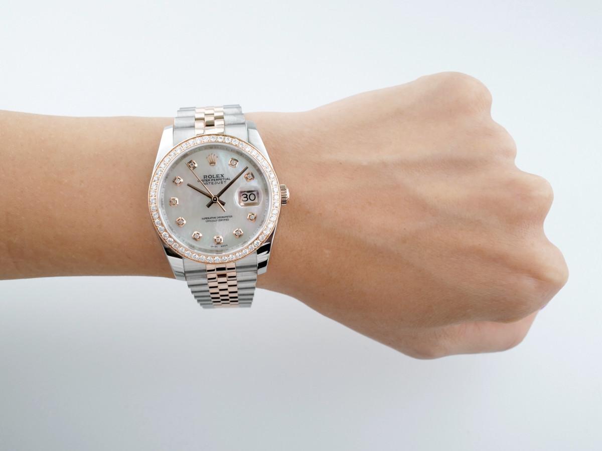 Швейцарские часы Rolex Datejust 36mm Steel and Everose Gold Diamonds
